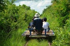 Bambujärnväg, Battambang, Cambodja September 5, 2015 Arkivbilder