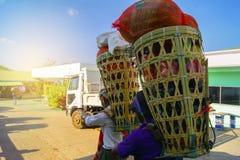 Bambukorg, Myanmar folk Fotografering för Bildbyråer