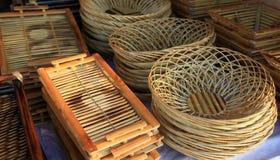 bambukorgar Arkivfoto