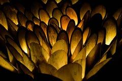 Bambulampor på natten som bildar lampor av bambublommor på den Mifuneyama trädgården, parkerar i sagan, Japan arkivbild