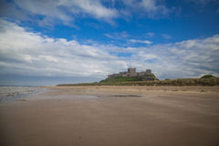 Bamburgh Castle. And beach in Northumberland Royalty Free Stock Photos