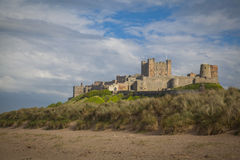 Bamburgh Castle. And beach in Northumberland Royalty Free Stock Photo