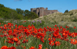 Bamburgh castle. At a blue sky Royalty Free Stock Image
