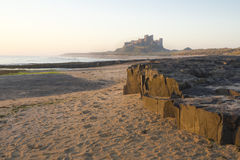 Bamburgh Castle at Dawn. Royalty Free Stock Images