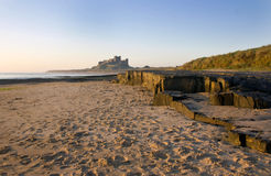 Bamburgh Castle at Dawn. Stock Photo