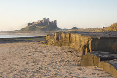 Bamburgh Castle at Dawn. Royalty Free Stock Photography
