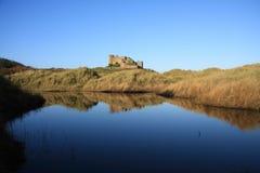 Bamburgh Castle Lagoon Stock Image