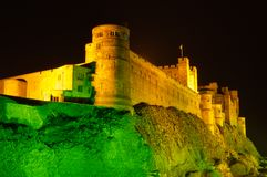 Bamburgh Castle at night close up Stock Images