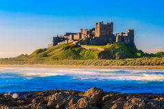 Bamburgh Castle, North East Coast of England. Taken in long exposure shutter Stock Photography