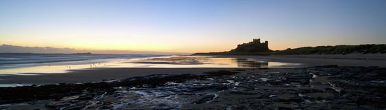 Bamburgh Castle Panoramic Royalty Free Stock Photos