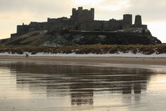 Bamburgh Castle Reflection Royalty Free Stock Photos