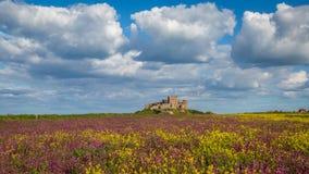 Bamburgh slott på kusten av Northumberland, England arkivbilder