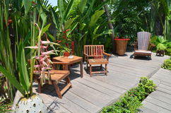 Bambusów krzesła dla relaksują Obraz Stock