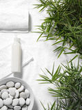 Bambusów liście na Ręcznikowym tle Zdjęcie Stock