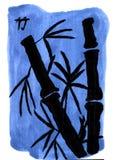 Bambus auf einem blauen Hintergrund - Tinten-Malerei stockbild