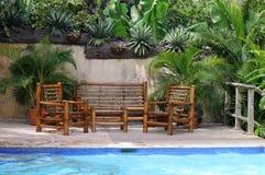Bambus, der durch den Swimmingpool sitzt stockbilder