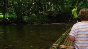Bambus, der in Khao Lak flößt stock footage