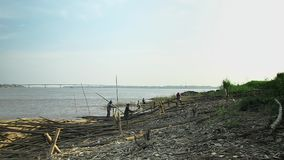Bambus, der Mekong, Kambodscha, Südostasien stock footage