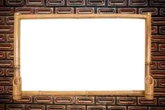 Bambus deska na czerwonym ściana z cegieł tle. Zdjęcie Stock