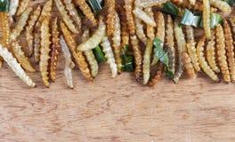 Bambus- essbare Wurminsekten knusperig oder Bambus-Caterpillar auf einer hölzernen Tabelle Das Konzept von Proteinnahrungsquellen lizenzfreie stockbilder