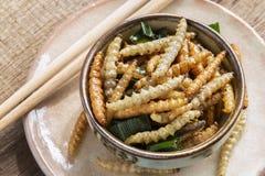 Bambus- essbare Wurminsekten knusperig oder Bambus-Caterpillar in einer keramischen Schüssel auf einer hölzernen Tabelle Das Konz stockfotos