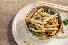 Bambus- essbare Wurminsekten knusperig oder Bambus-Caterpillar in einer keramischen Schüssel auf einer hölzernen Tabelle Das Konz lizenzfreies stockbild