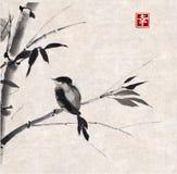 Bambus i ptak Pociągany ręcznie z atramentem Fotografia Stock