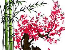 Bambus i wiśnia ilustracja wektor