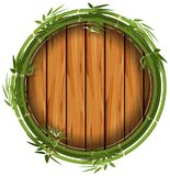 Bambus rama z drewnianą deską royalty ilustracja