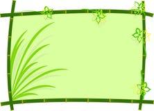 Bambus rama Z trawą i kwiatem Fotografia Stock