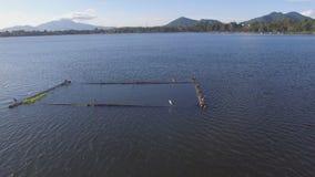 Bambus struktury budować po środku halnego jeziora Truteń antena zbiory wideo