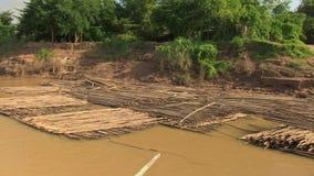 Bambus, tratwa, Mekong, Cambodia, południowo-wschodni Asia zbiory