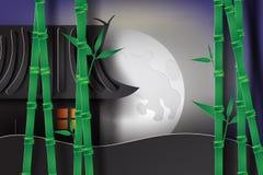 bambusa ogród przy nocą z Japan stylem Obrazy Stock