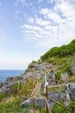 Bambusa ogrodzenie na falezie przy Koh Sichang, Chonburi, Tajlandia Fotografia Stock