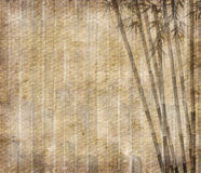 Bambusblätter auf altem grunge Papier Stockfotografie