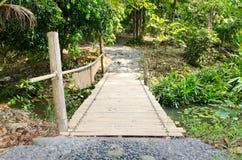 Bambusbrücke in der Landschaft Lizenzfreies Stockfoto