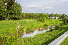 Bambusbrücke im ruhigen Fluss Lizenzfreie Stockfotos