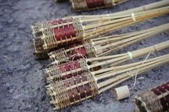 Bambusfackel, ist die Vorbereitung für den Feiertag lizenzfreies stockbild
