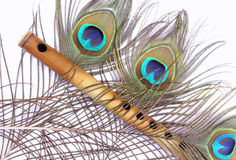 Bambusflöte, Pfaufeder Lizenzfreies Stockfoto