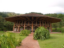 Bambushütte am botanischen Garten, Manizales lizenzfreie stockbilder