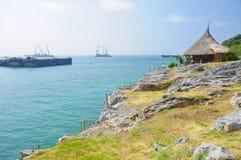 Bambushütte mit dem Meer Stockbild