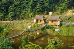Bambushütte und Korridor Lizenzfreie Stockfotos