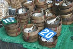 Bambuskörbe mit frischen Fischen Stockfotos