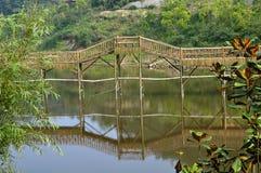 Bambuskorridor auf Wasser Stockfoto