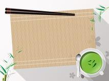 Bambusmattenteeschale auf weißer Hintergrundvektorillustration Stockfotografie