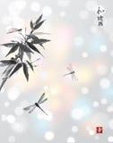 Bambusniederlassung und drei Libellen Stockbild
