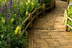 Bambusoberfläche auf wallway Stockbilder