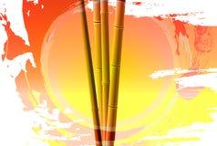 Bambusolnedgång Arkivfoto
