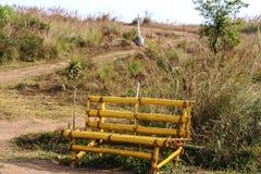 Bambusowa ławka w górze Obraz Royalty Free