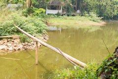 Bambusowa i gumowa tubka przez jezioro Obrazy Royalty Free